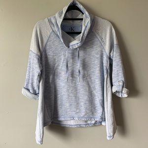 2/$35 Calvin Klein blue cowl neck hi low sweater